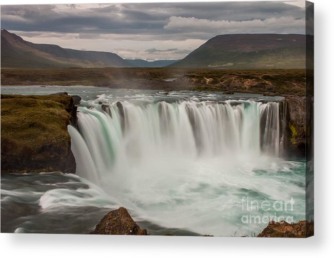 Waterfall Acrylic Print featuring the photograph Waterfall Iceland by Jorgen Norgaard