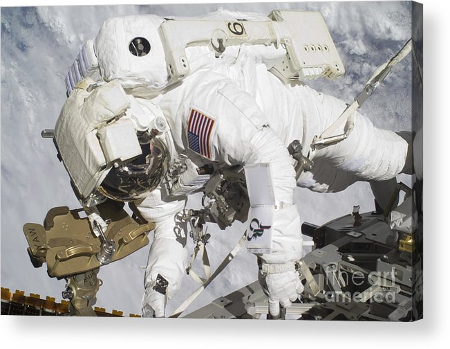 Components Acrylic Print featuring the photograph An Astronaut Participates In A Session by Stocktrek Images