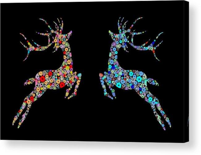 Animal Acrylic Print featuring the painting Reindeer Design By Snowflakes by Setsiri Silapasuwanchai