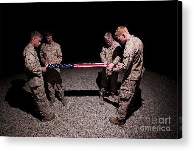 Night Acrylic Print featuring the photograph U.s. Marines Fold The American Flag by Terry Moore