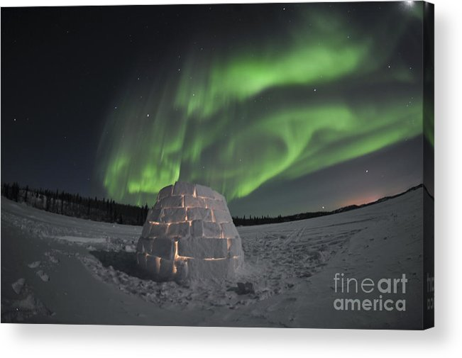 Yellowknife Acrylic Print featuring the photograph Aurora Borealis Over An Igloo On Walsh by Jiri Hermann