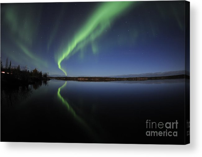 Yellowknife Acrylic Print featuring the photograph Aurora Borealis Over Long Lake by Jiri Hermann