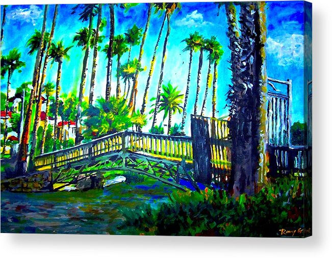 Bridge Acrylic Print featuring the painting A Bridge To Home by Romy Galicia