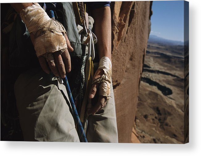 Anatomy Acrylic Print featuring the photograph A Close View Of Rock Climber Becky by Bill Hatcher