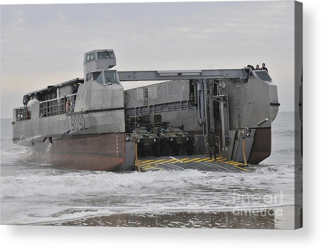 Exercise Bold Alligator Acrylic Print featuring the photograph A French Landing Craft Comes Ashore by Stocktrek Images