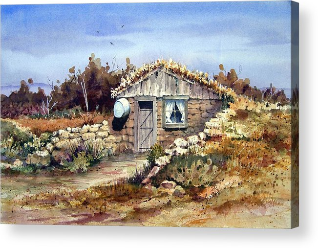 a Little South Of Wolf Creek (shattuck Dugout) By Sam Sidders Acrylic Print featuring the painting A Little South Of Wolf Creek by Sam Sidders