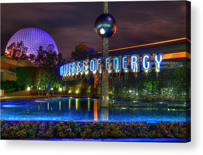 Disney World Acrylic Print featuring the photograph A Night Shot At Epcot by Mark Walter