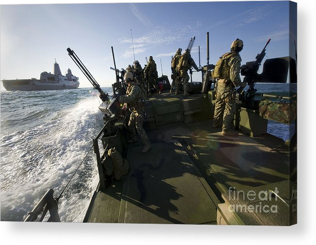 Exercise Bold Alligator Acrylic Print featuring the photograph A Riverine Squadron Conducts Security by Stocktrek Images
