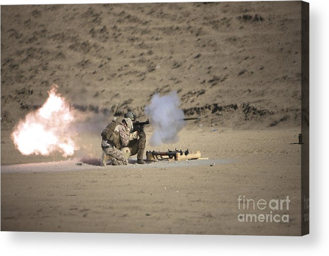 Kunduz Acrylic Print featuring the photograph A Soldier Fires A Rocket-propelled by Terry Moore