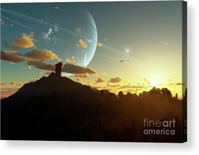 Artwork Acrylic Print featuring the digital art A Sunset On A Forested Moon Which by Brian Christensen