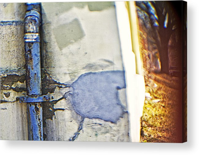 Blue Pipe Acrylic Print featuring the photograph Abstract Blue Pipe by Alex AG