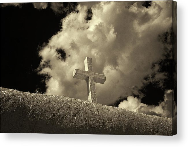 Cross Acrylic Print featuring the photograph Adobe And Cross by Christine Hauber