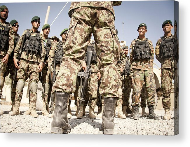 Afghan National Army Acrylic Print featuring the photograph Afghan Air Force Members Get Briefed by Stocktrek Images