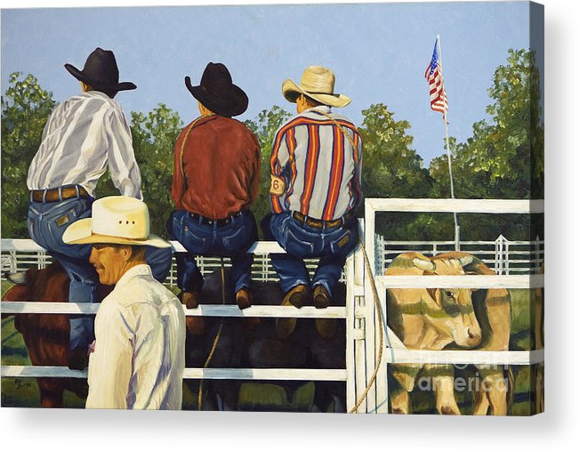 Cowboys Acrylic Print featuring the painting All American by Pat Burns