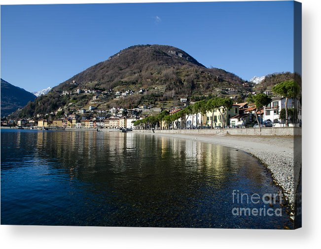 Village Acrylic Print featuring the photograph Alpine Village Reflected In The Lake by Mats Silvan