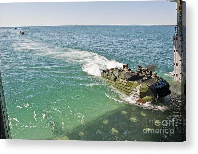 Uss New York Acrylic Print featuring the photograph Amphibious Assault Vehicles Enter by Stocktrek Images