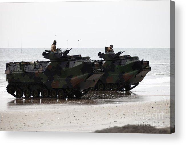 Men Acrylic Print featuring the photograph Amphibious Assault Vehicles Land Ashore by Stocktrek Images