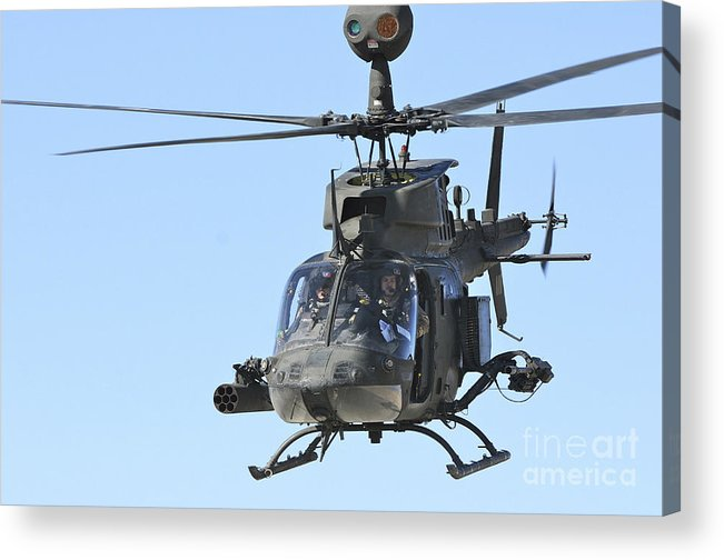 Helicopter Acrylic Print featuring the photograph An Oh-58 Kiowa Takes by Stocktrek Images