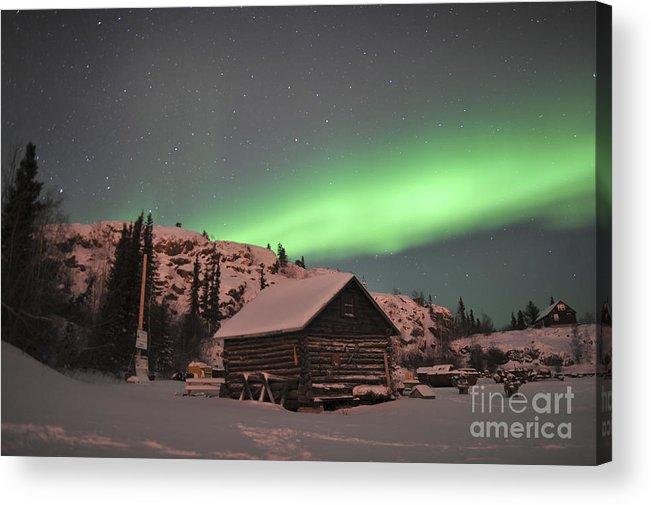 Yellowknife Acrylic Print featuring the photograph Aurora Borealis Over A Cabin, Northwest by Jiri Hermann