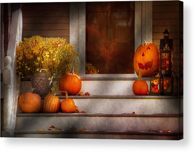Autumn Acrylic Print featuring the photograph Autumn - Halloween - We're All Happy To See You by Mike Savad