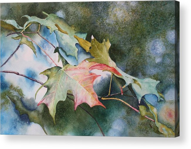 Close Focus Nature Scene Acrylic Print featuring the painting Autumn Sparkle by Patsy Sharpe