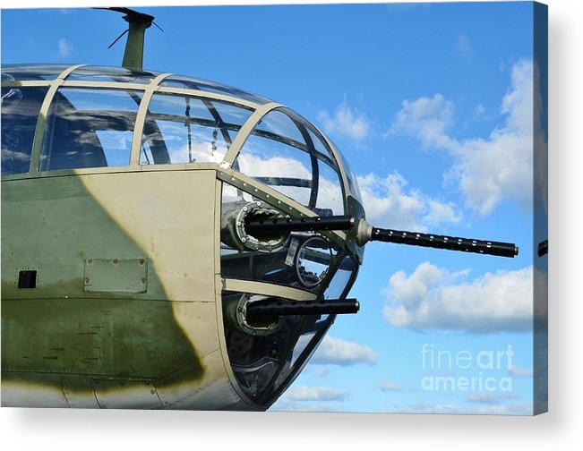 North American B-25j Mitchell Acrylic Print featuring the photograph B-25j Nose by Lynda Dawson-Youngclaus