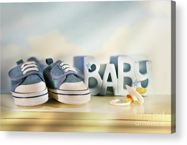 Baby Acrylic Print featuring the photograph Baby Denim Shoes by Sandra Cunningham