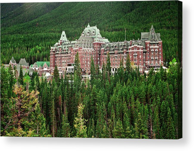 Canadian Rockies Acrylic Print featuring the photograph Banff Hotel 1607 by Larry Roberson