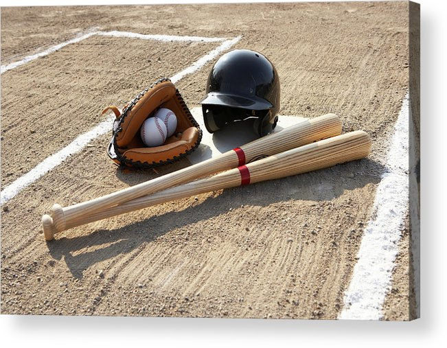 Horizontal Acrylic Print featuring the photograph Baseball Glove, Balls, Bats And Baseball Helmet At Home Plate by Thomas Northcut