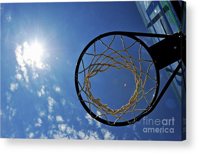 Aspirations Acrylic Print featuring the photograph Basketball Hoop And The Sun by Sami Sarkis