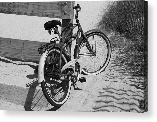 Beach Acrylic Print featuring the photograph Beach Bike - Black And White by Paulette Thomas