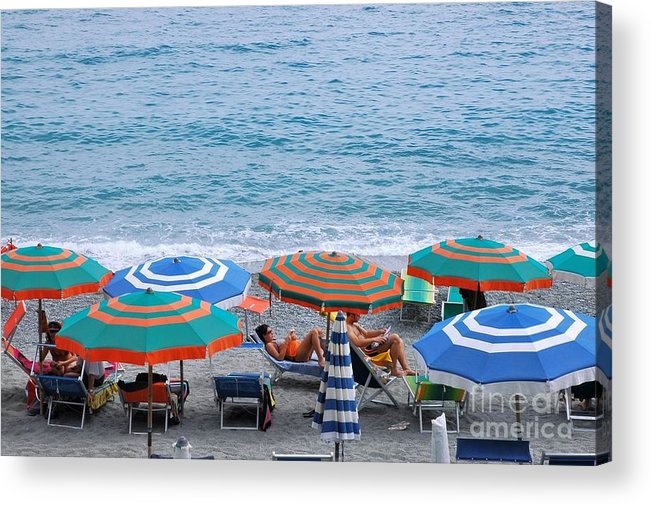 Italy Acrylic Print featuring the photograph Beach Umbrellas 2 by Allen Beatty