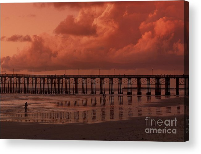 Sandra Bronstein Acrylic Print featuring the photograph Beachcombing At Oceanside Pier by Sandra Bronstein