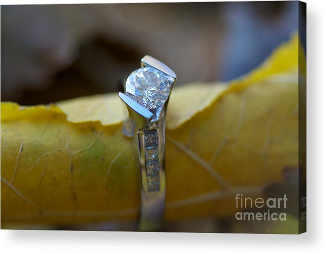 Solitaire Diamond Acrylic Print featuring the photograph Beautiful Engagement One by Brooke Roby