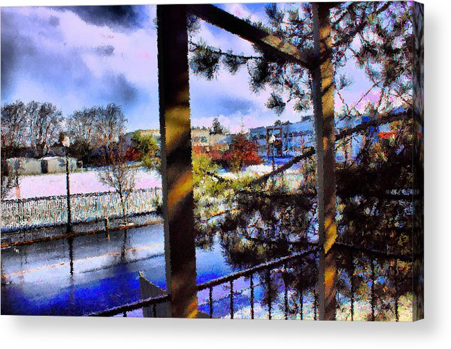Urban Impressionism 2011 Acrylic Print featuring the mixed media Beaverton H.s. Winter 2011 by Terence Morrissey