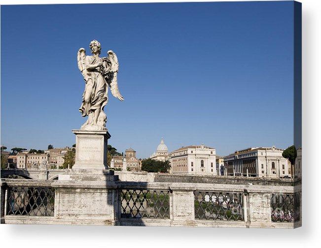 Tiber Acrylic Print featuring the photograph Bernini Statue On The Ponte Sant Angelo. Rome by Bernard Jaubert