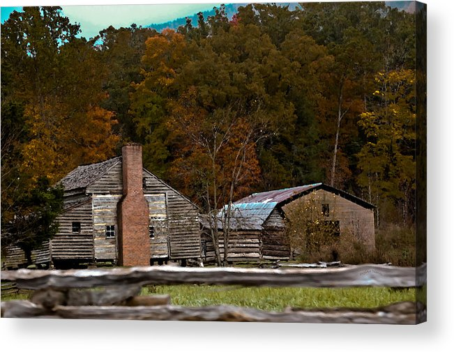 Settlement Acrylic Print featuring the photograph Beyond The Fence by DigiArt Diaries by Vicky B Fuller