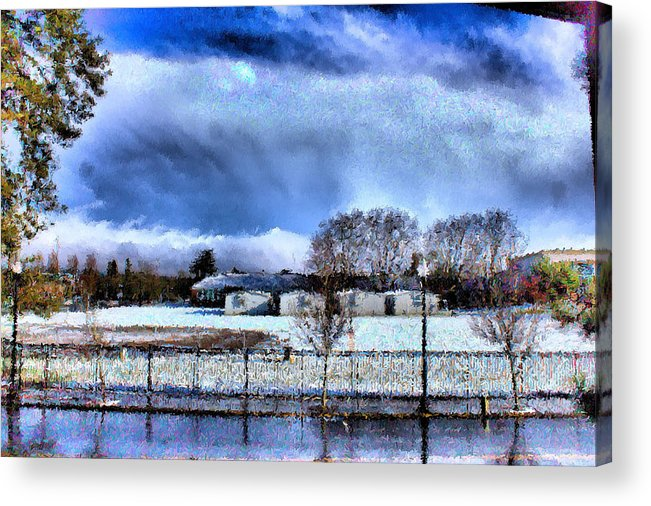 Beaverton High School Acrylic Print featuring the mixed media Bhs Softball Field Winter 2012 Full by Terence Morrissey