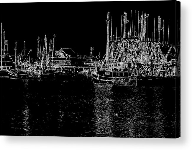 Cape May New Jersey Acrylic Print featuring the photograph Black And White Fishing Boats by Tom Singleton