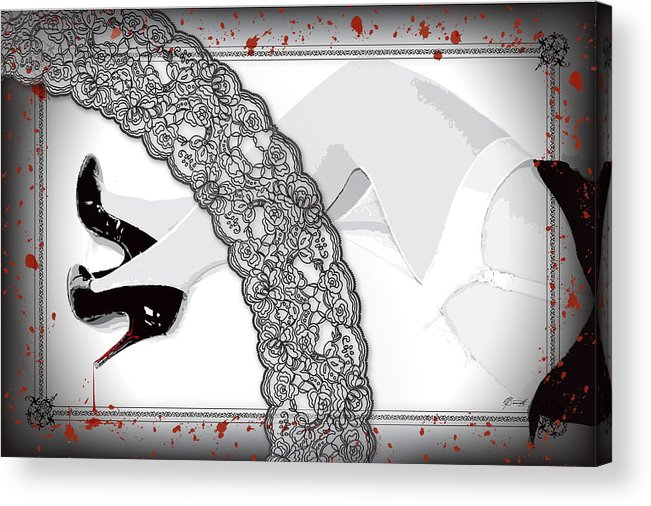 Red Acrylic Print featuring the digital art Black Lace And Killer Pumps by Dana Bennett