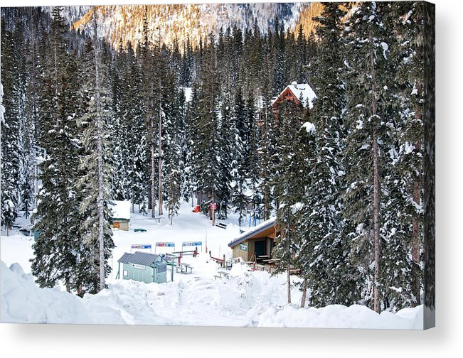 Landscape Acrylic Print featuring the photograph Bottom Of Ski Slope by Lisa Spencer