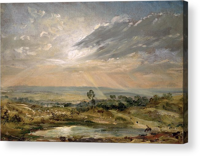 Sky; Landscape; Sunrise; Sunset; Dramatic; Romantic; Romanticism Acrylic Print featuring the painting Branch Hill Pond Hampstead by John Constable