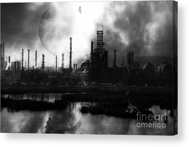Brave New World Acrylic Print featuring the photograph Brave New World - Version 2 - Black And White - 7d10358 by Wingsdomain Art and Photography
