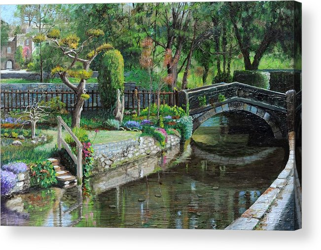 Scenic; Peak District; Garden; Flowers; Flower; Tranquil; Serene; English Landscape; Bridge; Bakewell; Derbyshire ; Tree; Trees; Water; Stairs Acrylic Print featuring the painting Bridge And Garden - Bakewell - Derbyshire by Trevor Neal
