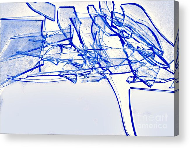 Abstract Acrylic Print featuring the photograph Broken Glass Blue by Susan Stevenson