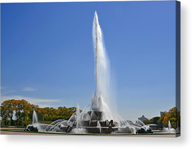Clarence Acrylic Print featuring the photograph Buckingham Fountain - Chicago's Iconic Landmark by Christine Till
