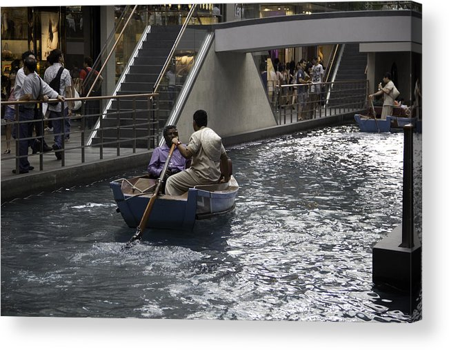 Action Acrylic Print featuring the photograph Canal Running Through The Length Of The Shoppes Running Under Th by Ashish Agarwal
