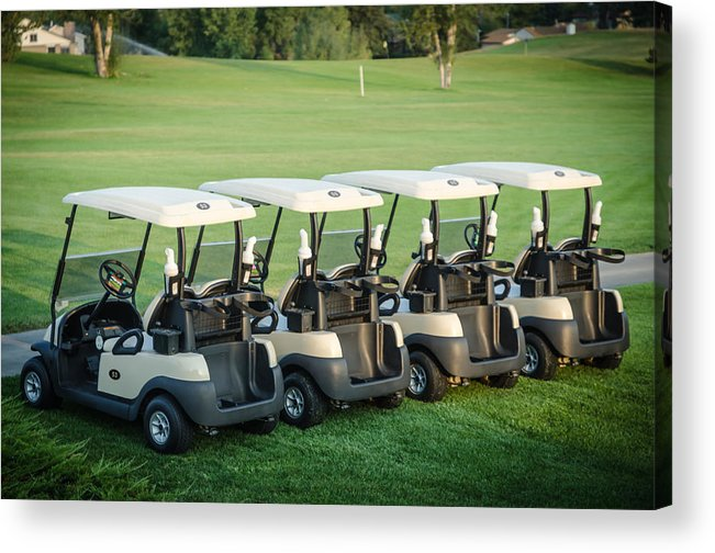 Golf Acrylic Print featuring the photograph Carts Ready To Hit The Greens by Noah Katz