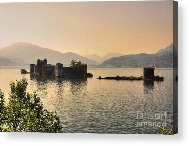 Castle Acrylic Print featuring the photograph Castle Cannero On Lake by Mats Silvan