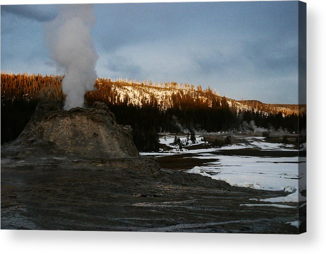 Geysers Acrylic Print featuring the photograph Castle Geyser Yellowstone National Park by Benjamin Dahl